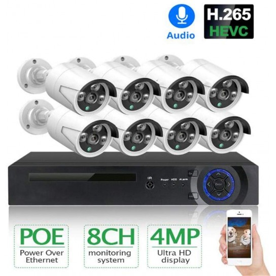 3TB H.265 8CH 4MP POE Security With 8 Cameras System Kit